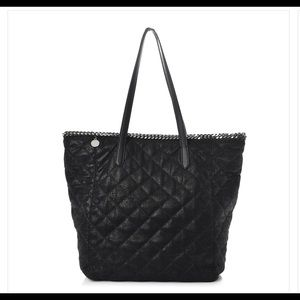 STELLA MCCARTNEY Shaggy Quilted Shopper Tote Black
